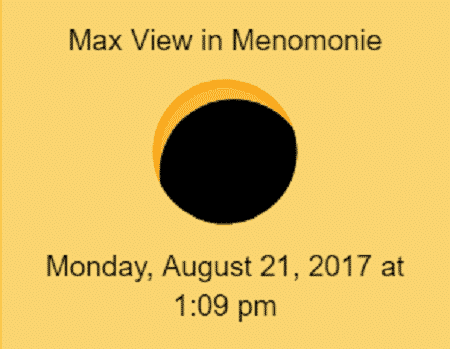 Solar eclipse max view in Menomonie
